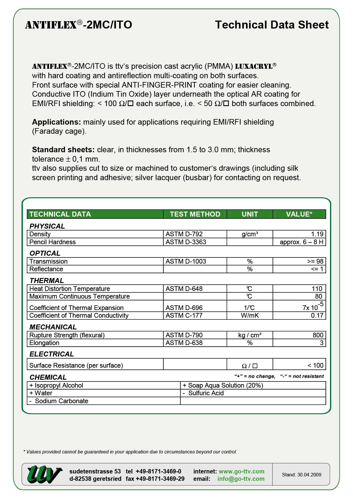ANTIFLEX-2MC-ITO Data sheet