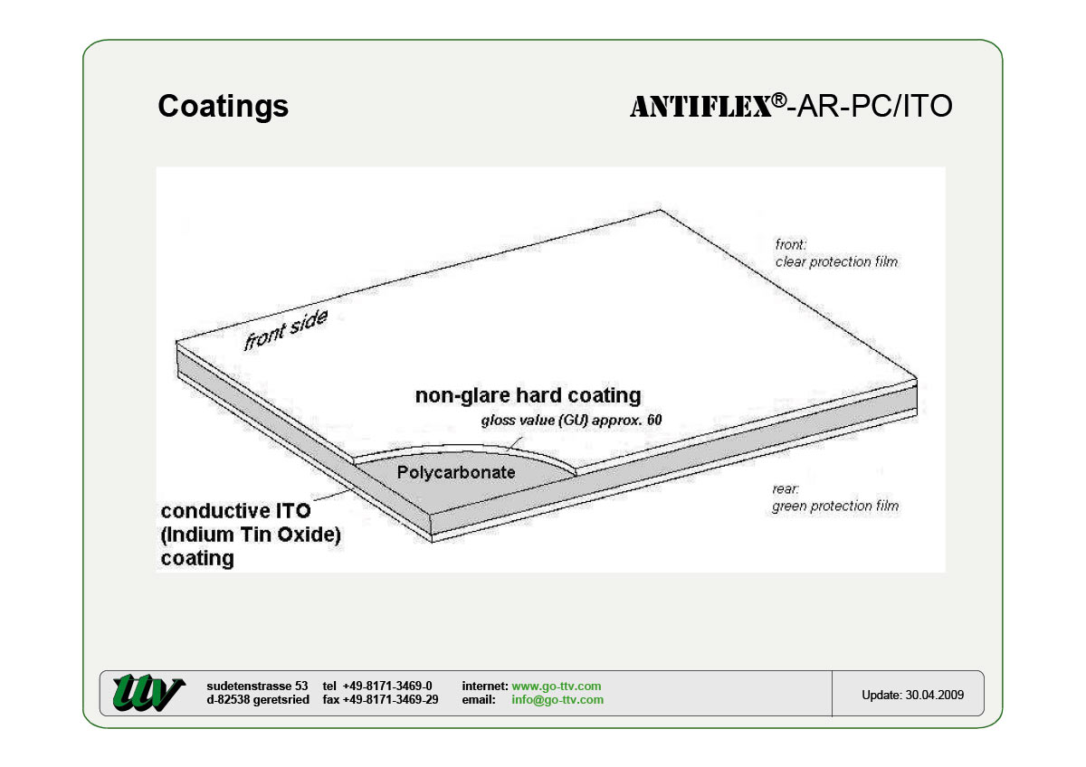 ANTIFLEX-AR-PC/ITO Coatings