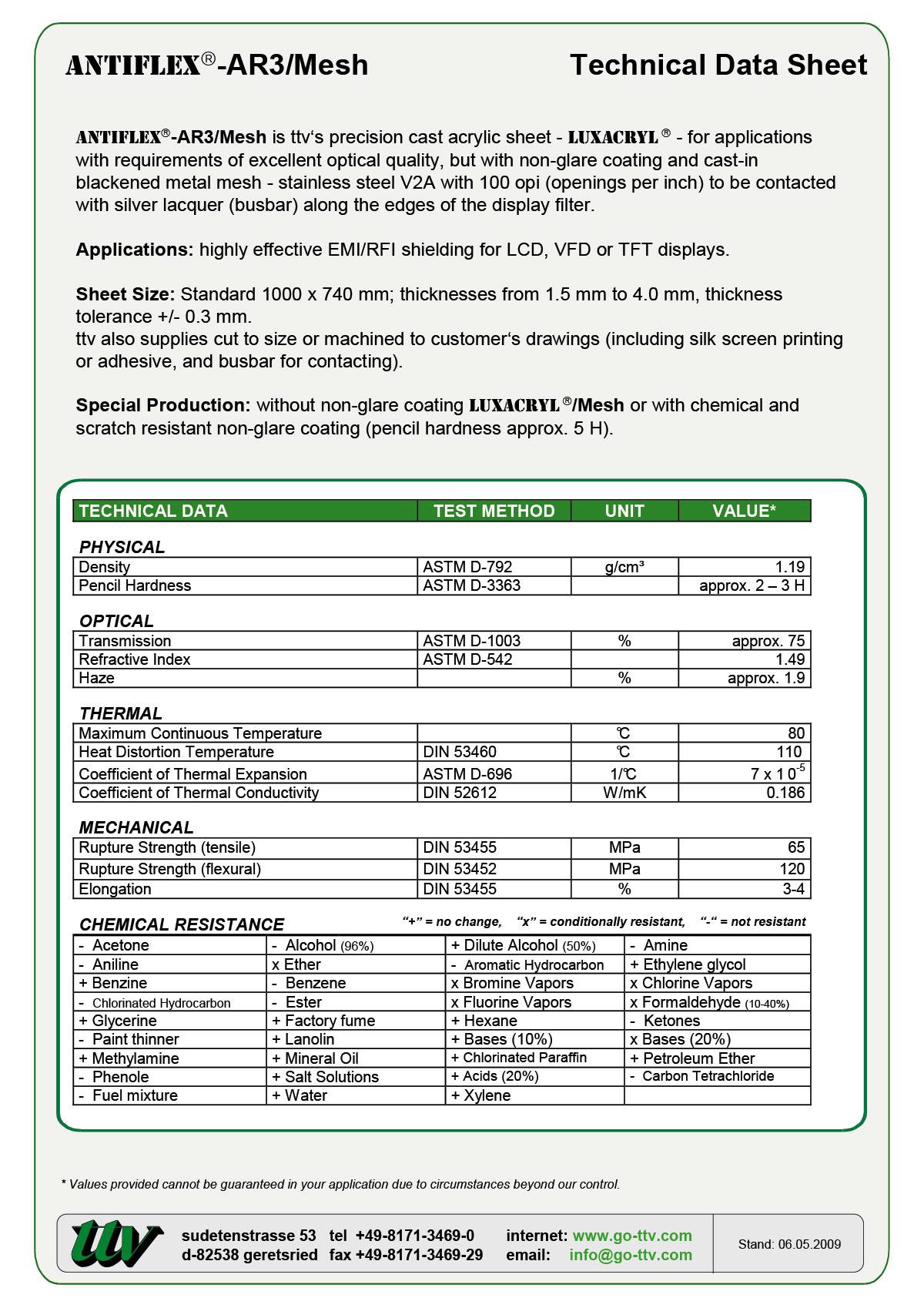 ANTIFLEX-AR3/Mesh Data sheet