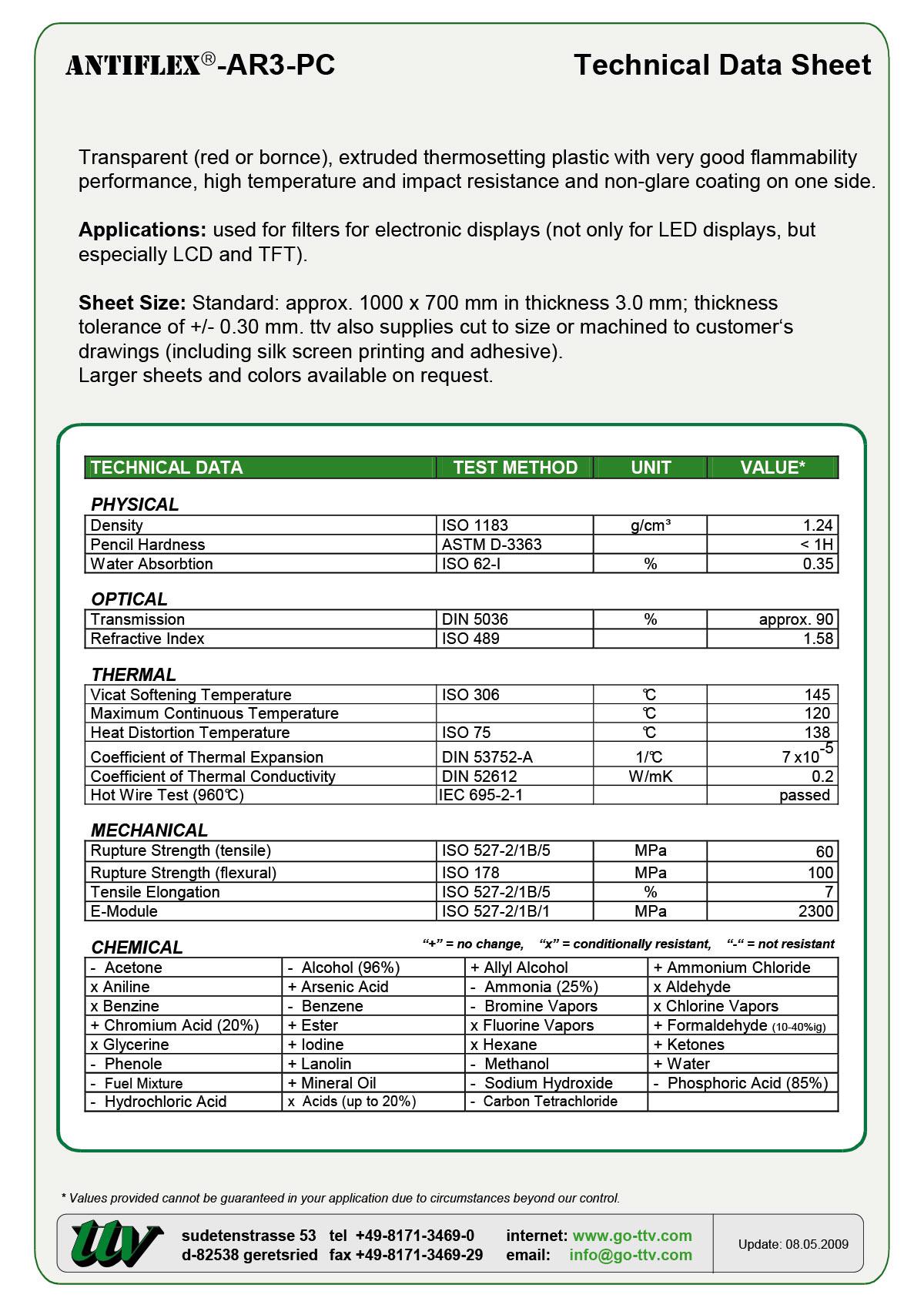 ANTIFLEX-AR3-PC Data sheet