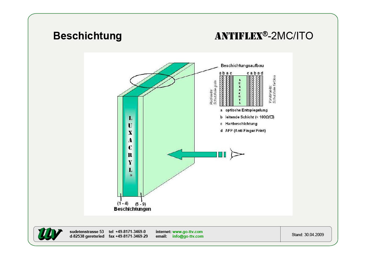 Antiflex-2MC/ITO Beschichtung