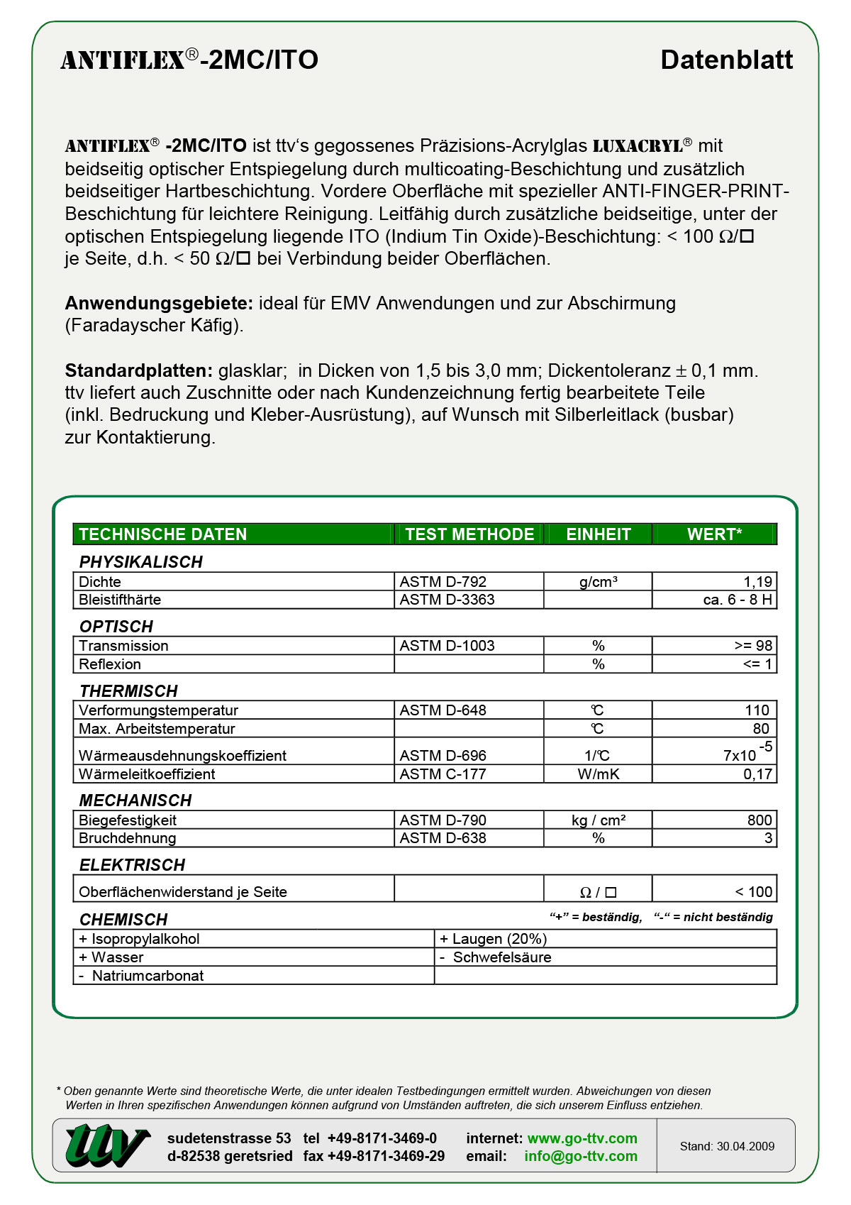 Antiflex-2MC/ITO Datenblatt