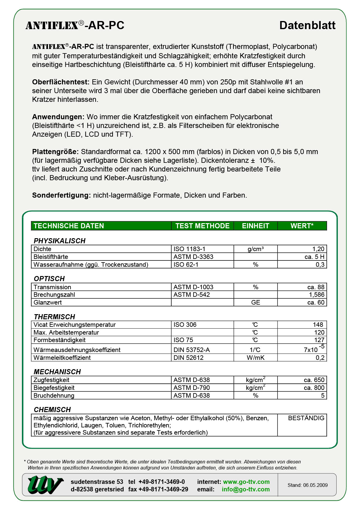 Antiflex-AR-PC Datenblatt