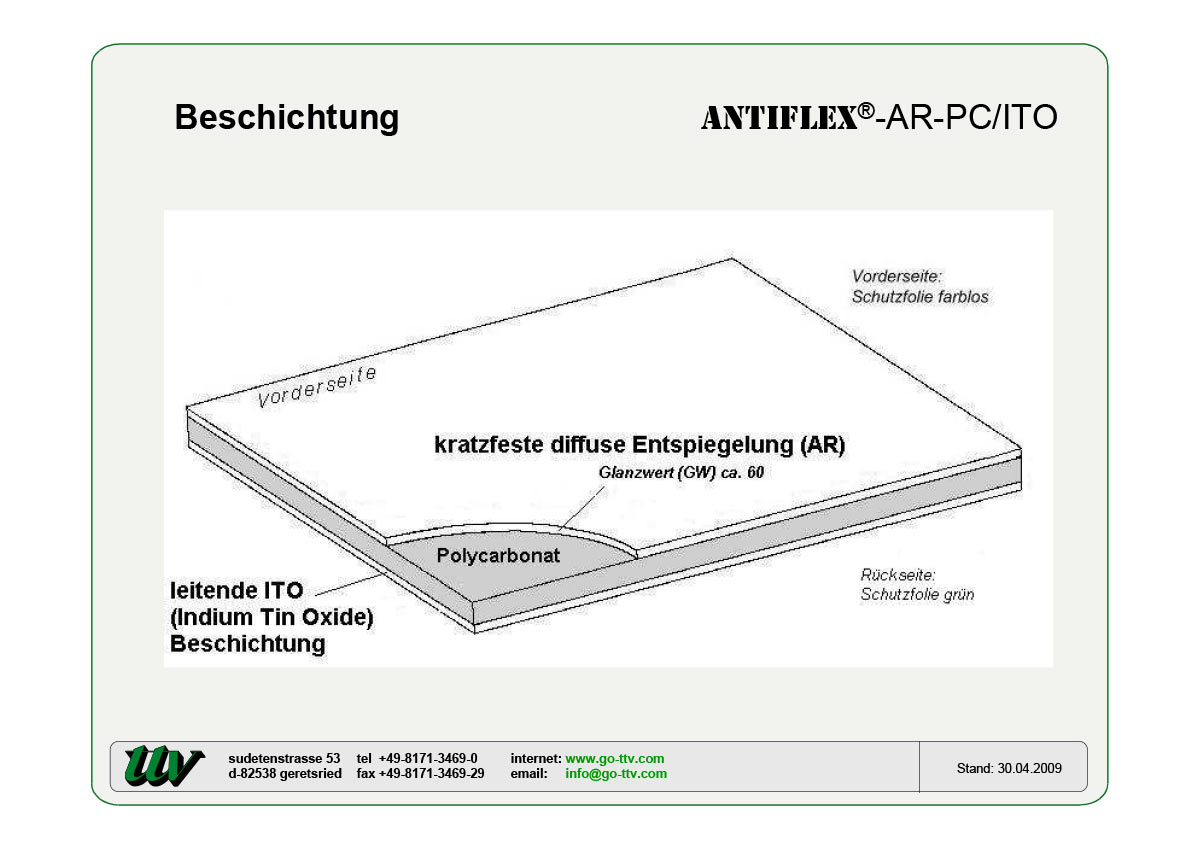 Antiflex-AR-PC/ITO Beschichtung