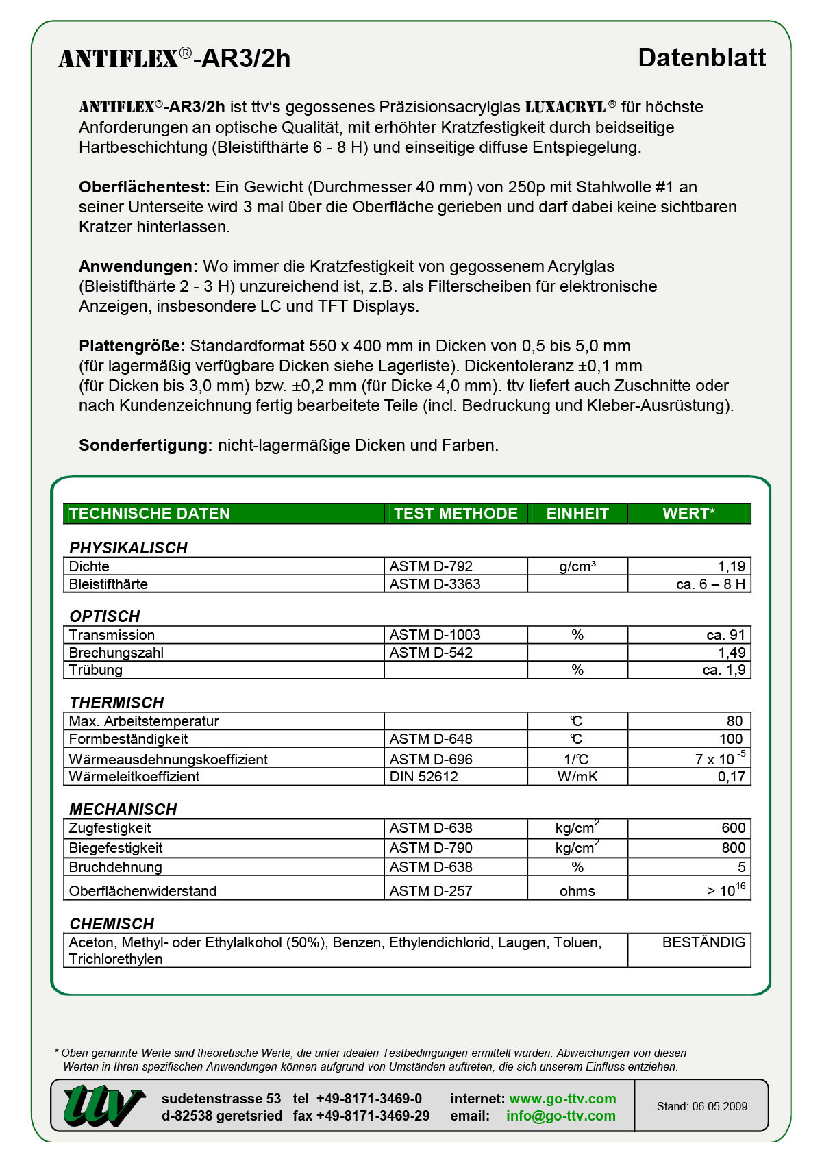 Antiflex-AR3/2h Datenblatt