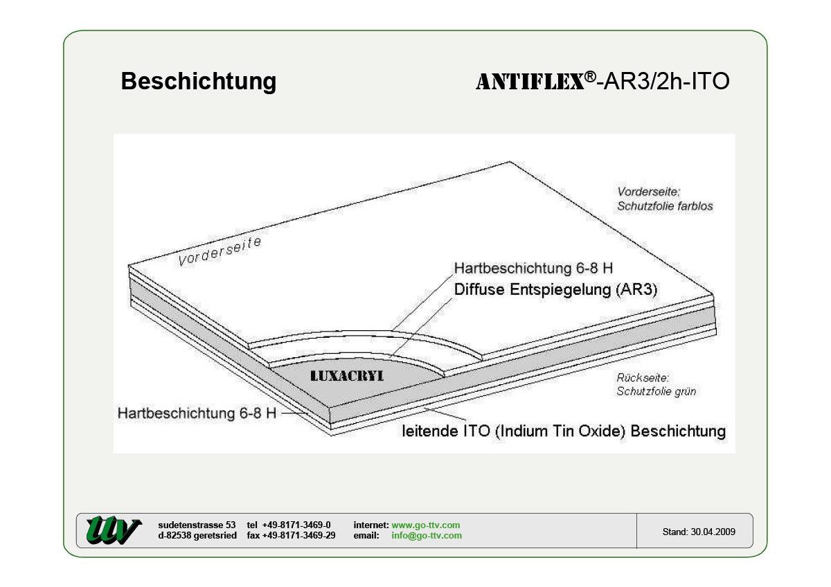 Antiflex-AR3/2h-ITO Beschichtung