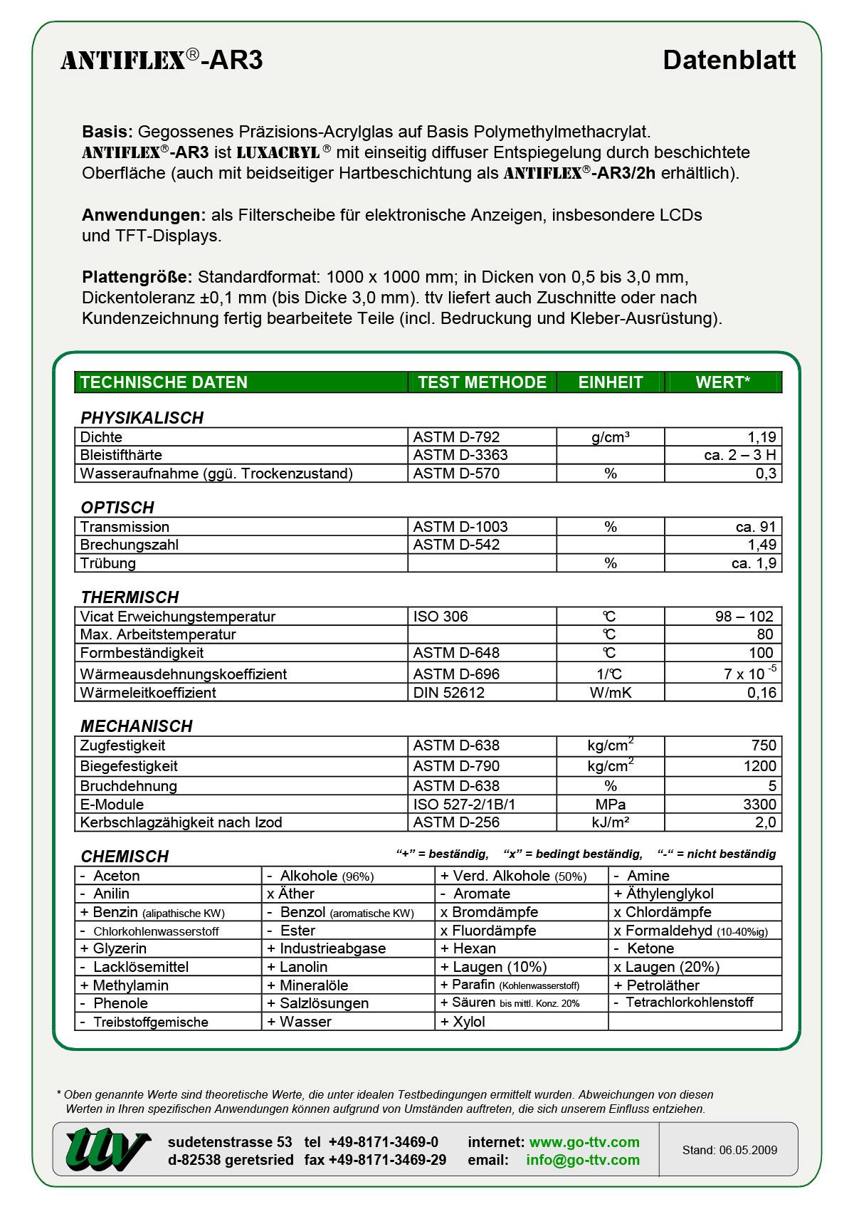 Antiflex-AR3 Datenblatt