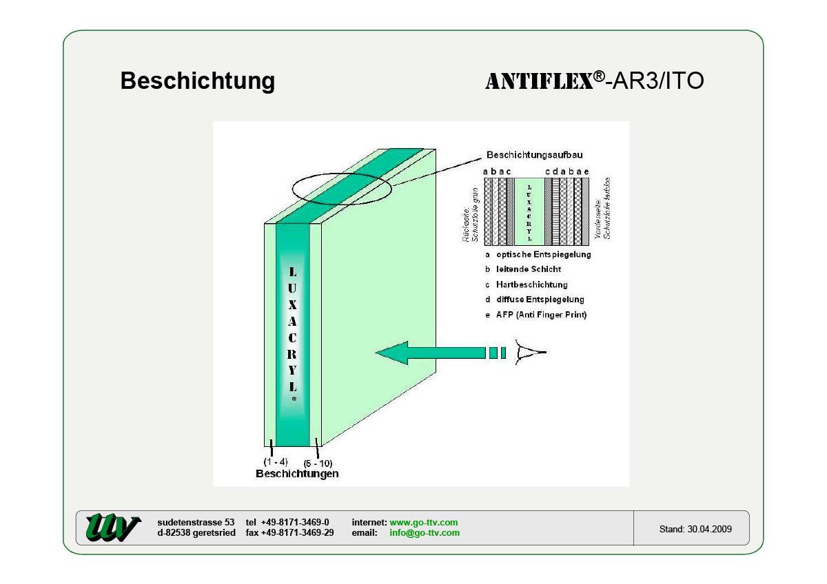 Antiflex-AR3/ITO Beschichtung