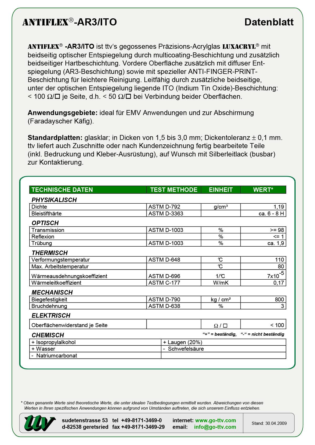 Antiflex-AR3/ITO Datenblatt