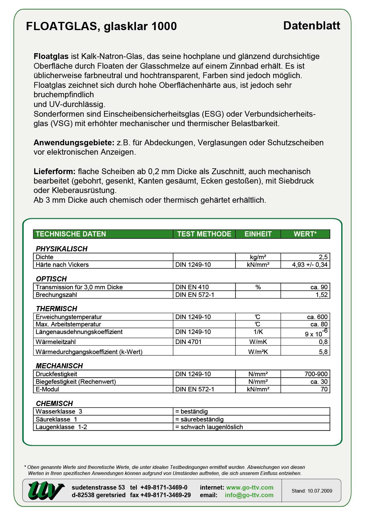 Floatglas Datenblatt