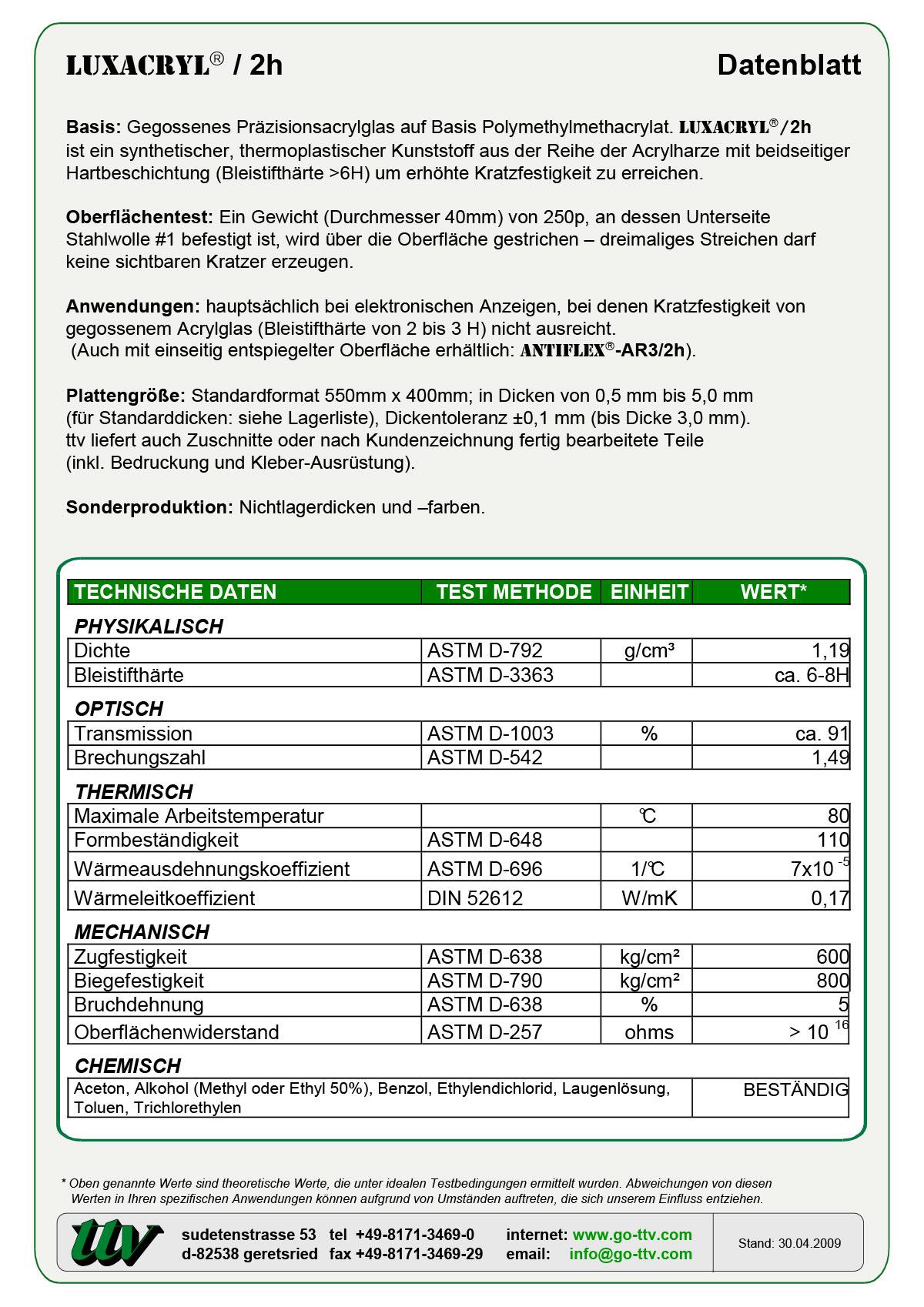 Luxacryl/2h Datenblatt