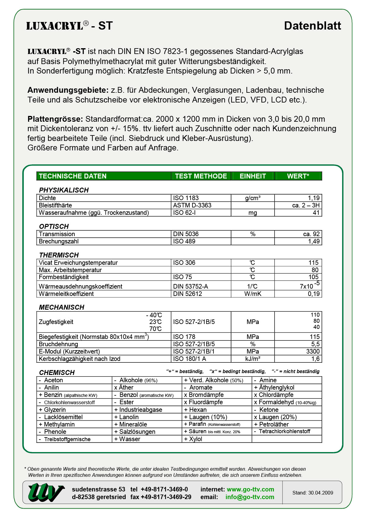 Luxacryl-ST Datenblatt