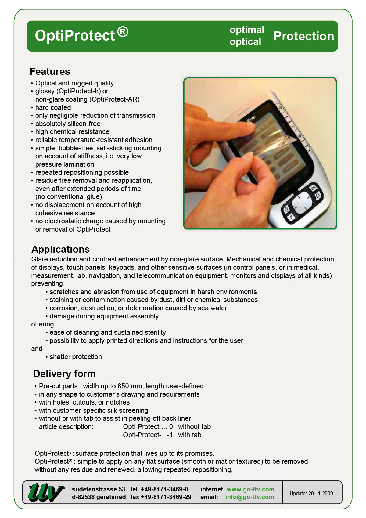 OptiProtect Data sheet