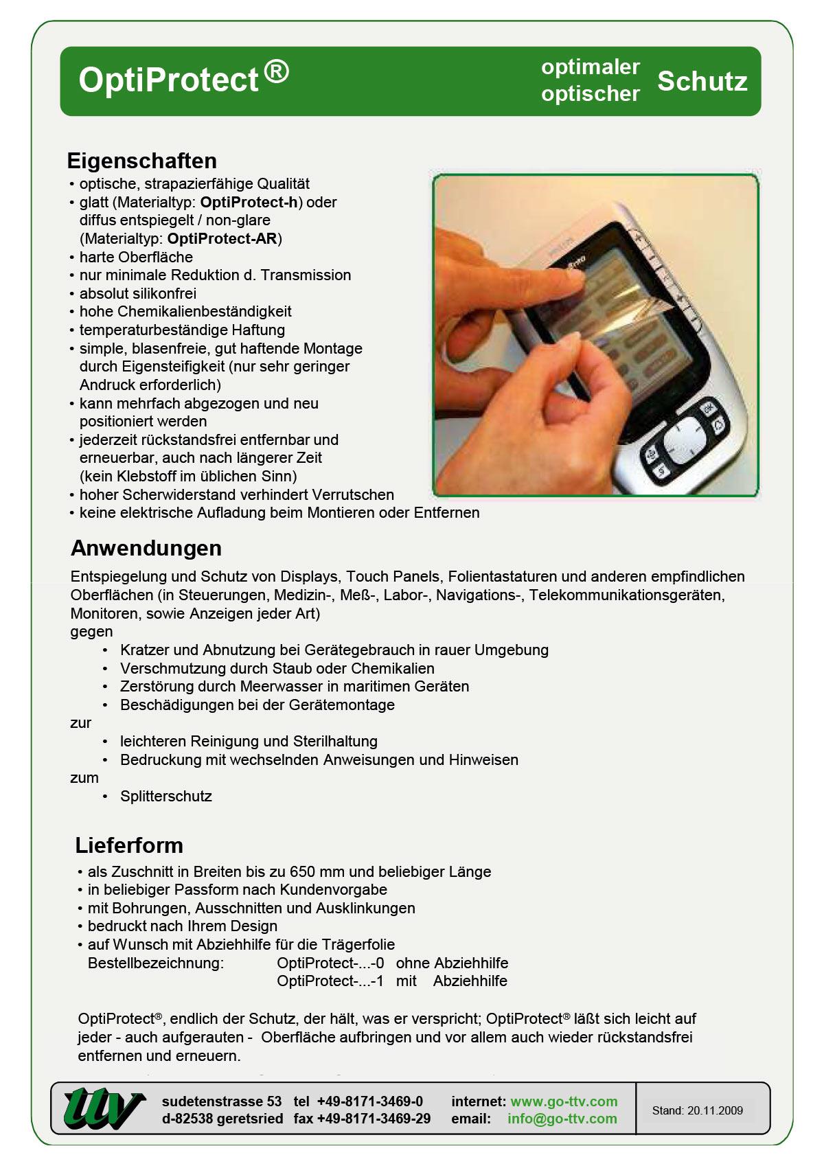 OptiProtect Datenblatt