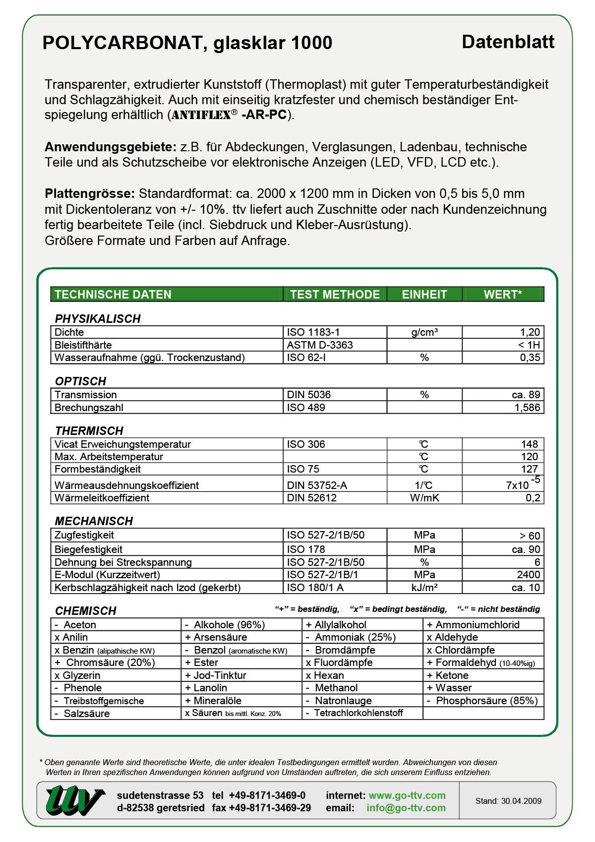 Polycarbonat Datenblatt