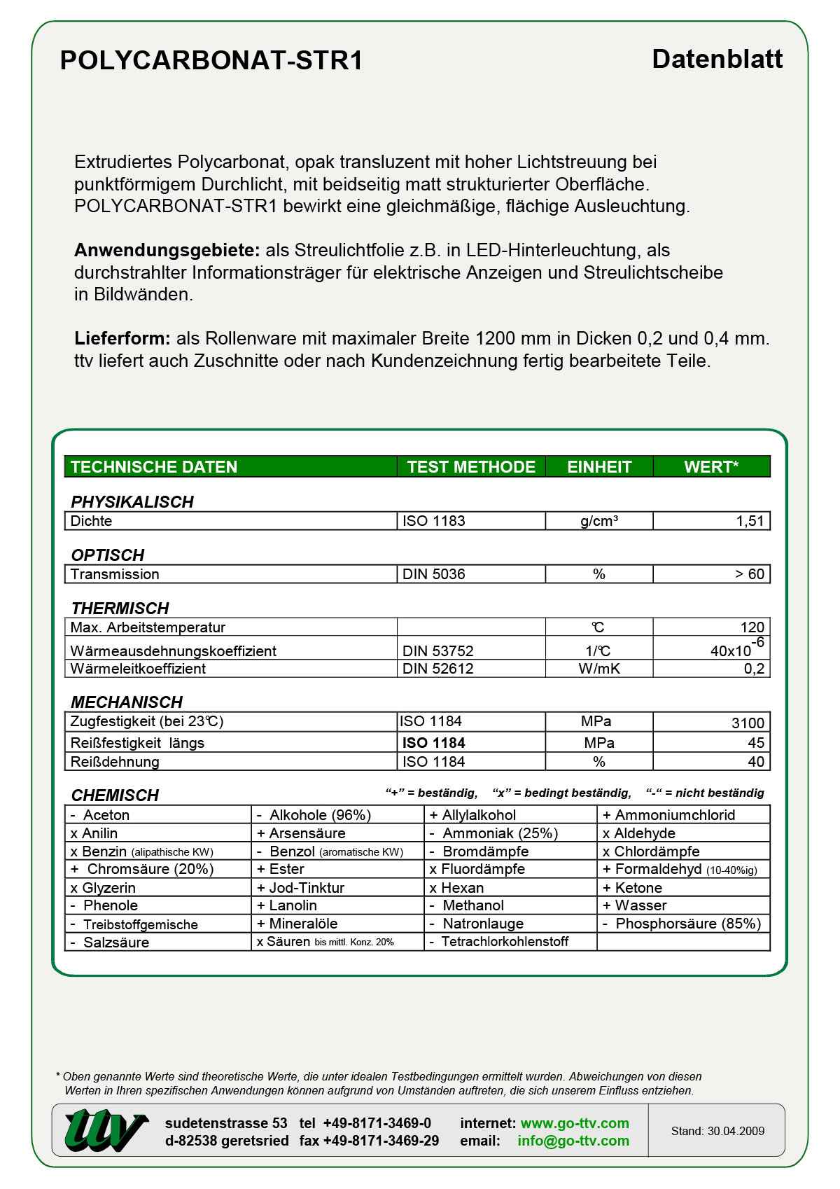 Polycarbonat-STR1 Datenblatt