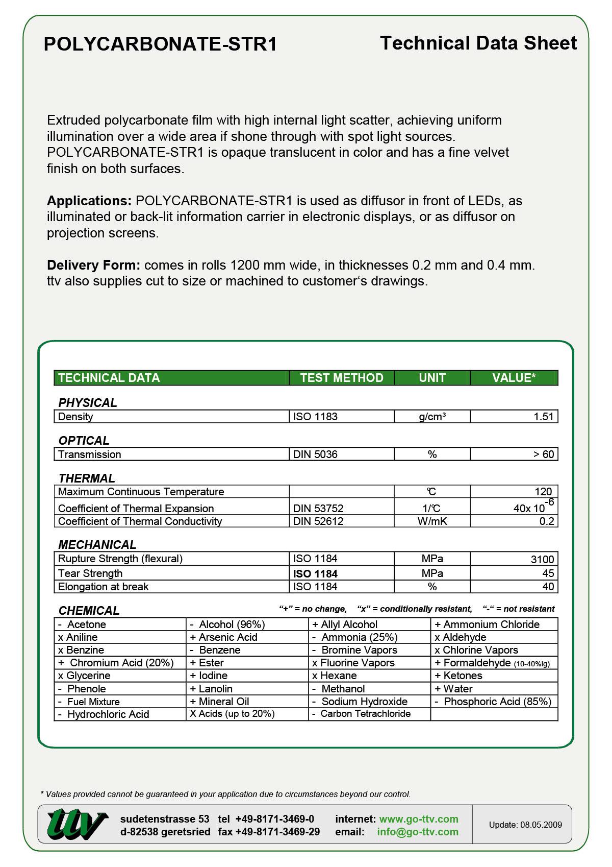 Polycarbonate-STR1 Data sheet