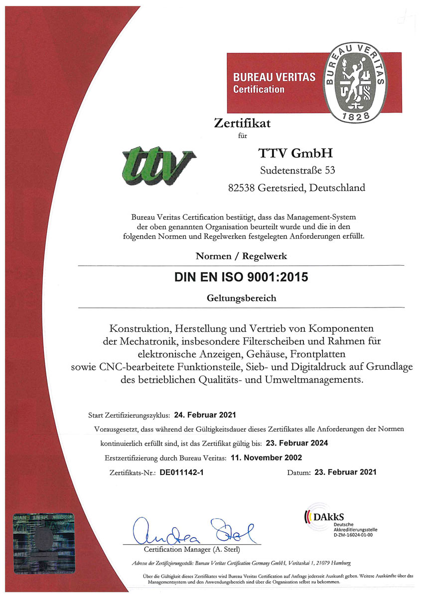 ttv QM-Zertifikat 9001-2015 DE