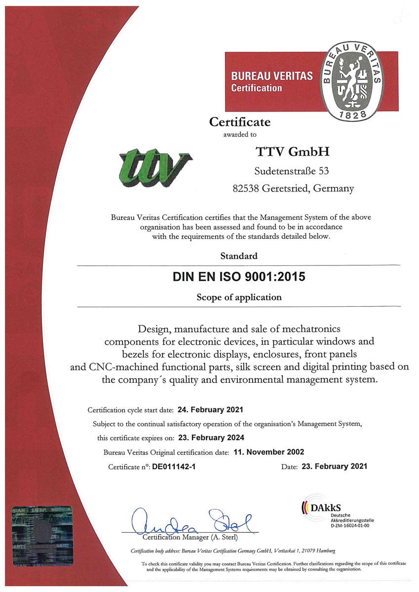 ttv QM Certificate 9001-2015 EN