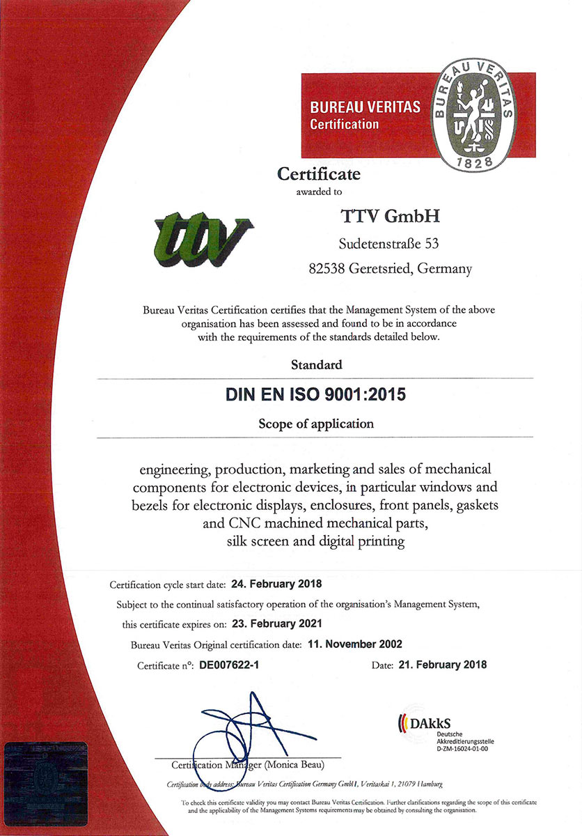 QM-Zertifikat 9001:2015
